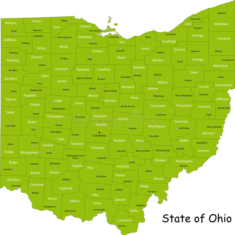 Ohio map. Map of Ohio state designed in illustration with the counties and the county seats