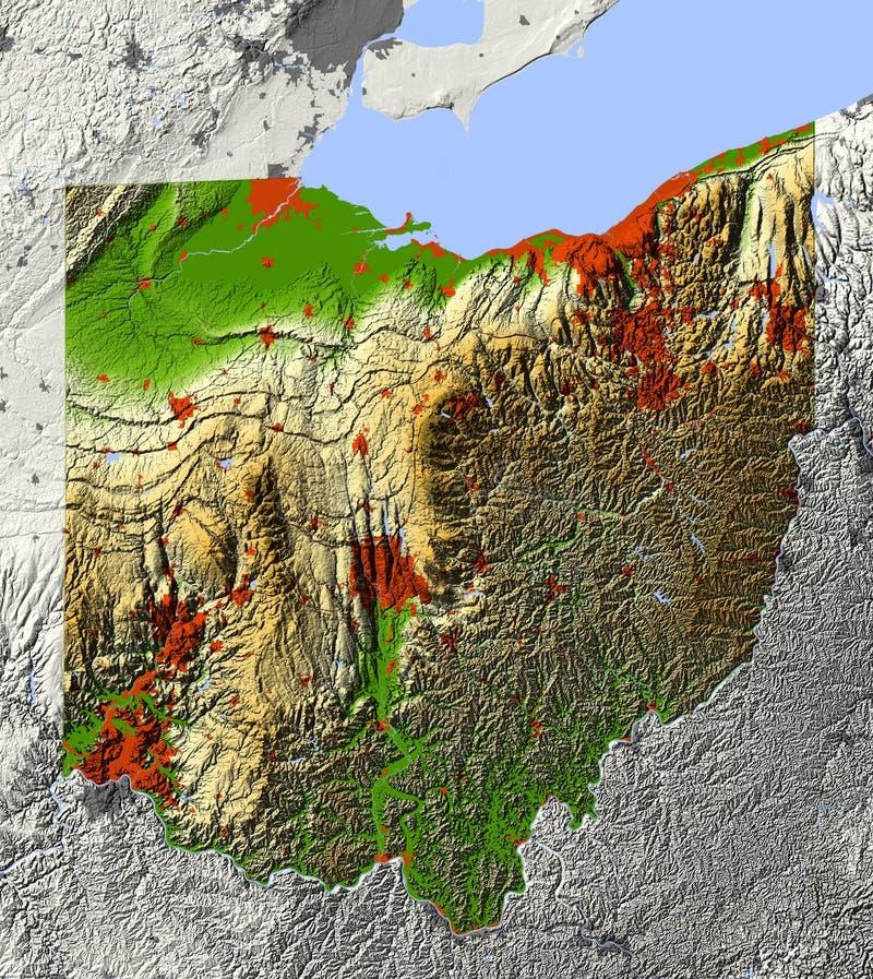 Ohio, mapa de relevo ilustração do vetor