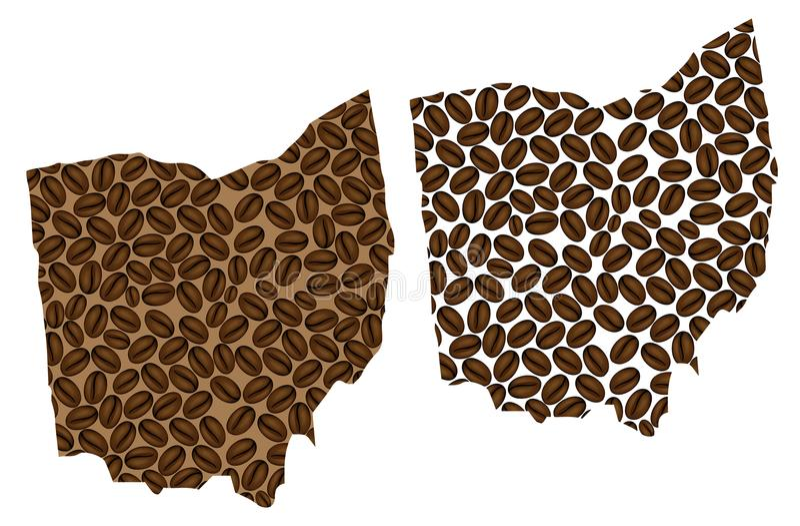 Ohio - mapa do feijão de café ilustração royalty free