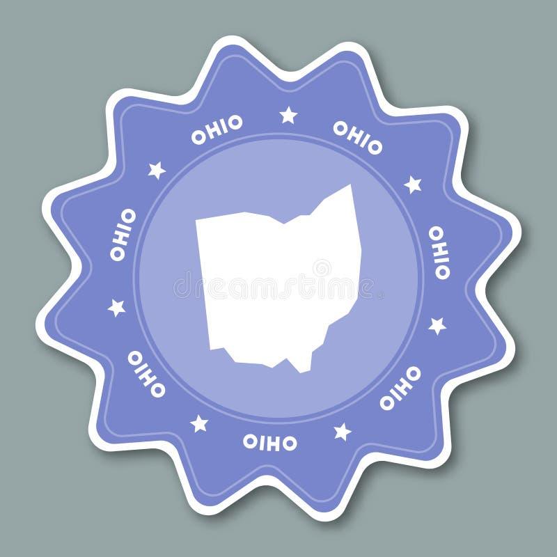 Ohio mapy majcher w modnych kolorach ilustracja wektor