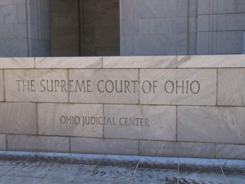 Ohio-Oberstes Gericht Front Entrance Sign lizenzfreies stockfoto