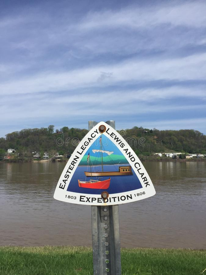 Ohio River Sign Lewis and Clark Expedition stock photos