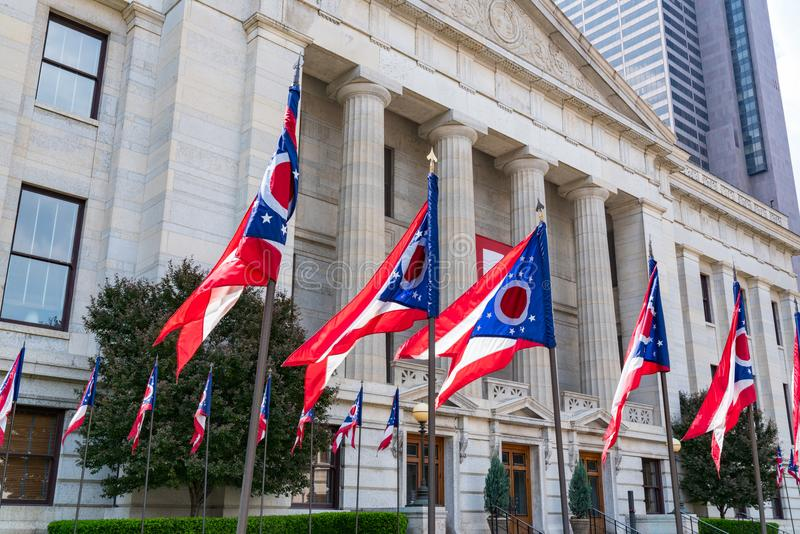 Ohio State Flags. At the state capital in Capitol Square in Columbus, Ohio stock photography