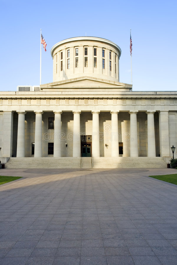 Ohio Statehouse. West facade of the Ohio Statehouse in Columbus, Ohio lit by sunlight royalty free stock photo