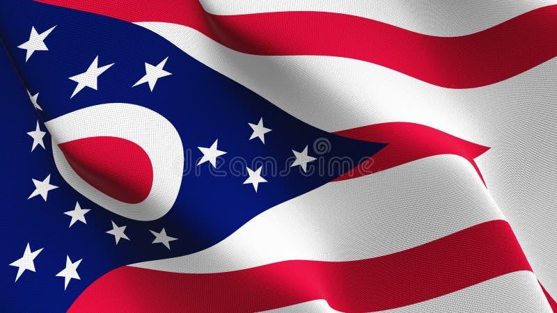 Ohio-US-Staat fahnenschwenkend auf Wind vektor abbildung