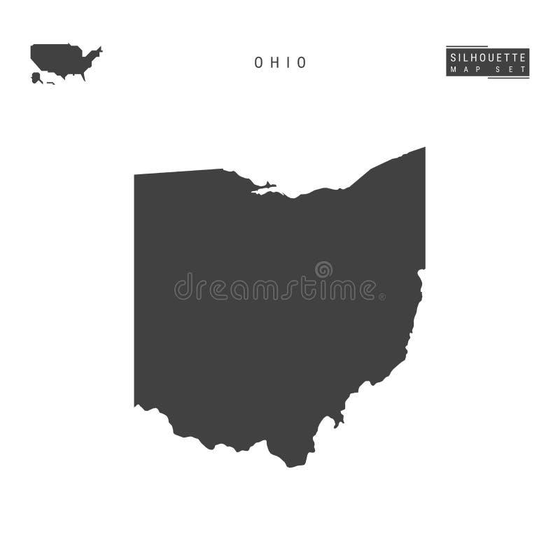 Ohio USA påstår vektoröversikten som isoleras på vit bakgrund Hög-specificerad svart konturöversikt av Ohio vektor illustrationer