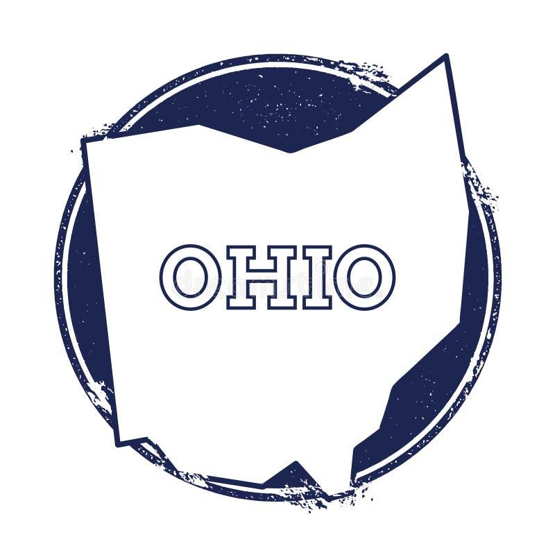 Ohio vektoröversikt royaltyfri illustrationer