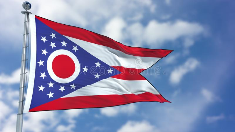 Ohio Waving Flag. Ohio U.S. state flag waving against clear blue sky, close up, isolated with clipping path mask luma channel, perfect for film, news stock photos