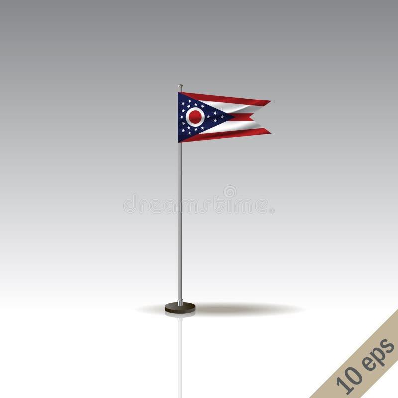 Ohio wektoru flagi szablon Falowania Ohio flaga na kruszcowym słupie, odizolowywającym na szarym tle ilustracja wektor