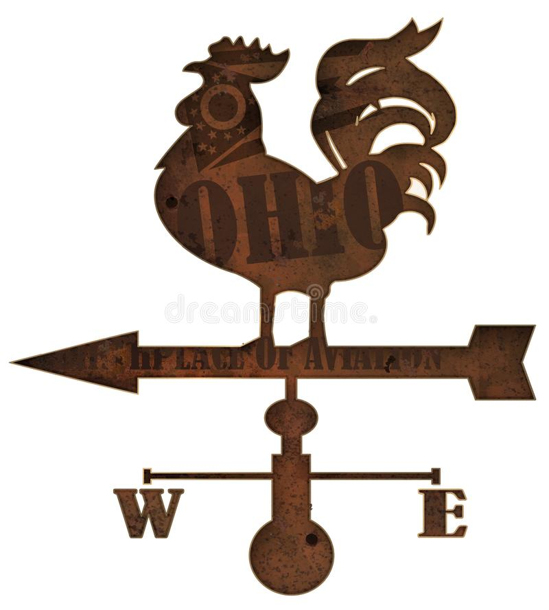 Ohio-Wetter-Vane Sign Old Rustic Rusted-Weinlese Retro- stockfotografie