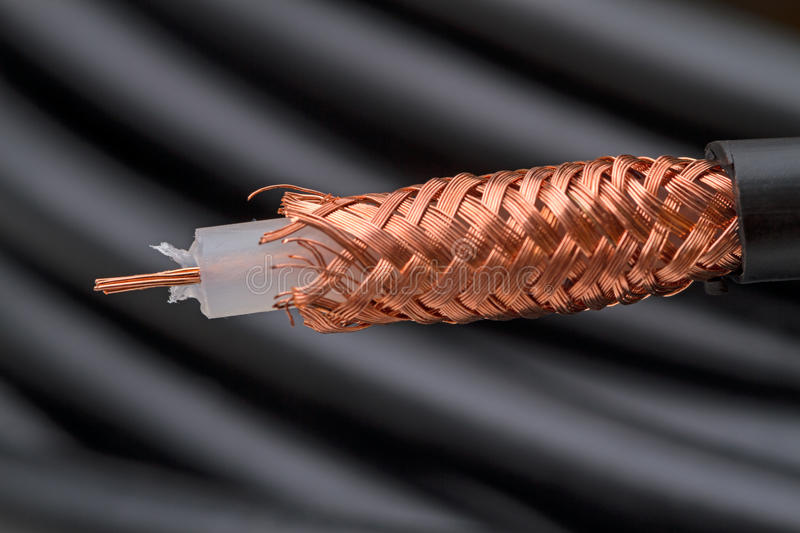 75 ohm coaxial cable. Hank Black 75 ohm coaxial cable royalty free stock photo