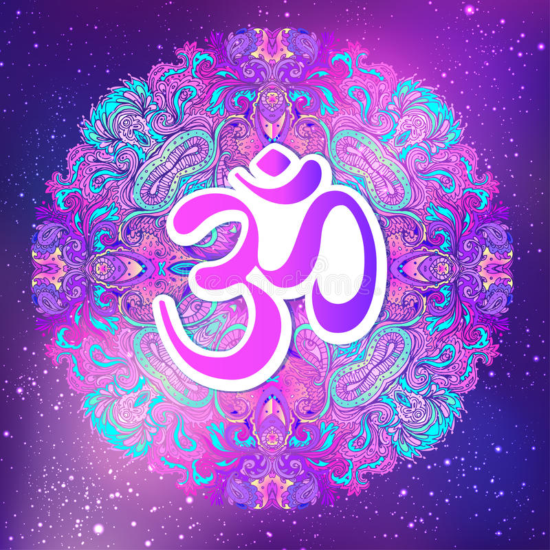Ohm symbol, Indian Diwali spiritual sign Om over Mandala. Beautiful vintage round pattern. Vector illustration. Psychedelic neon. Composition. Indian yoga royalty free illustration