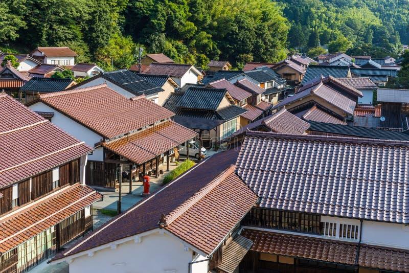 Ohmori som är historisk försilvrar minbyn, Japan arkivfoton