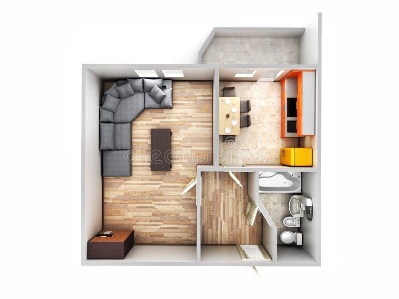 Ohne Dach Draufsicht-Wohnungsplan 3d der Innenwohnung übertragen lizenzfreie abbildung