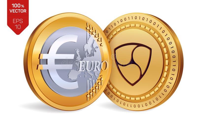 Ohne Gegenstimmen Euro isometrische körperliche Münzen 3D Digital-Währung Cryptocurrency Goldene Münzen mit ohne Gegenstimmen und stock abbildung