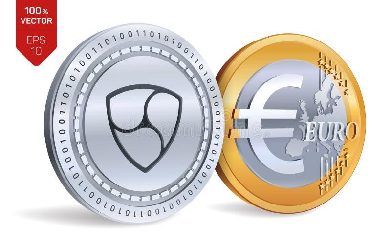 Ohne Gegenstimmen Euro zerrissen zur Hälfte gegen alten Hintergrund isometrische körperliche Münzen 3D Digital-Währung Cryptocurr lizenzfreie abbildung