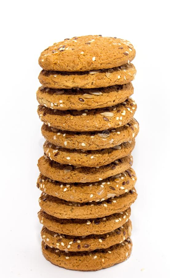 Ohomemade fresh oats cookies isolated stock photo