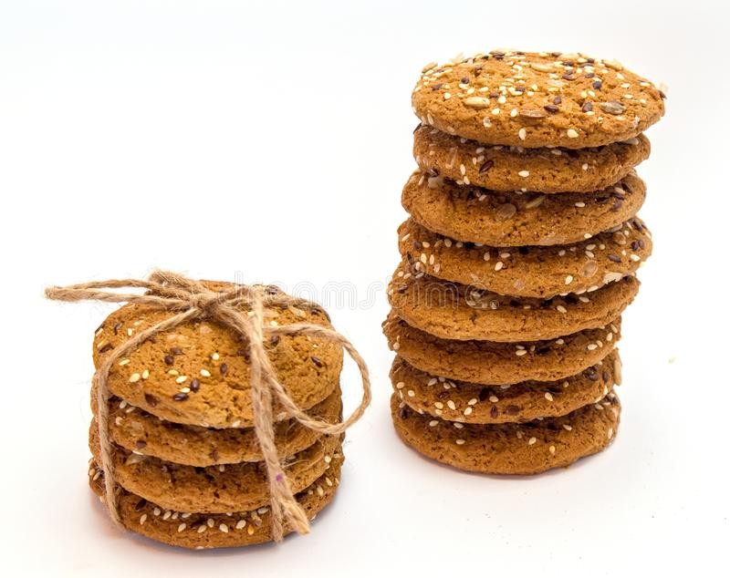Ohomemade fresh oats cookies isolated stock image