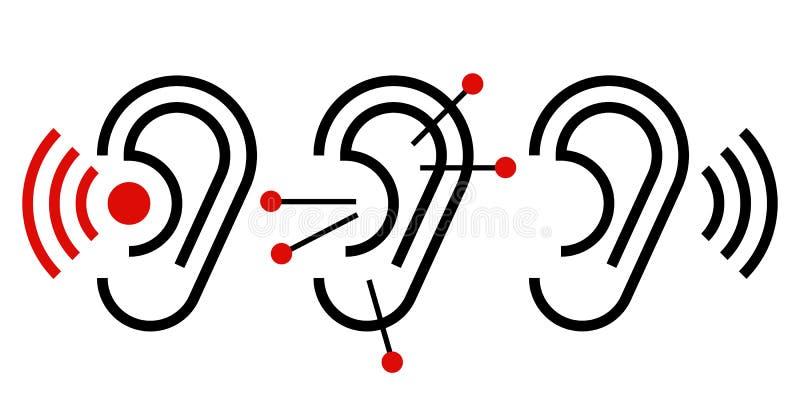 Ohr, Akupunktur und Hörgerätikone stock abbildung