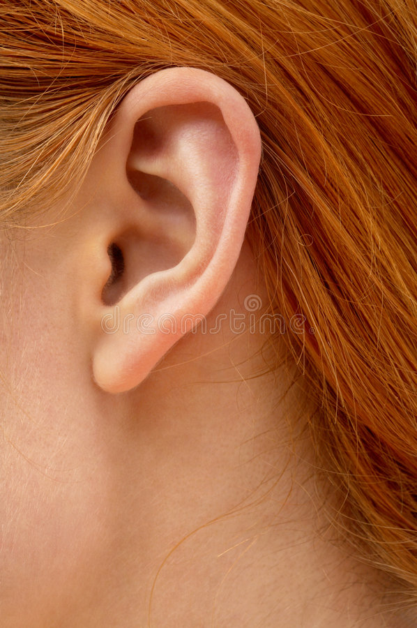 Ohr der Redheaddame lizenzfreie stockbilder