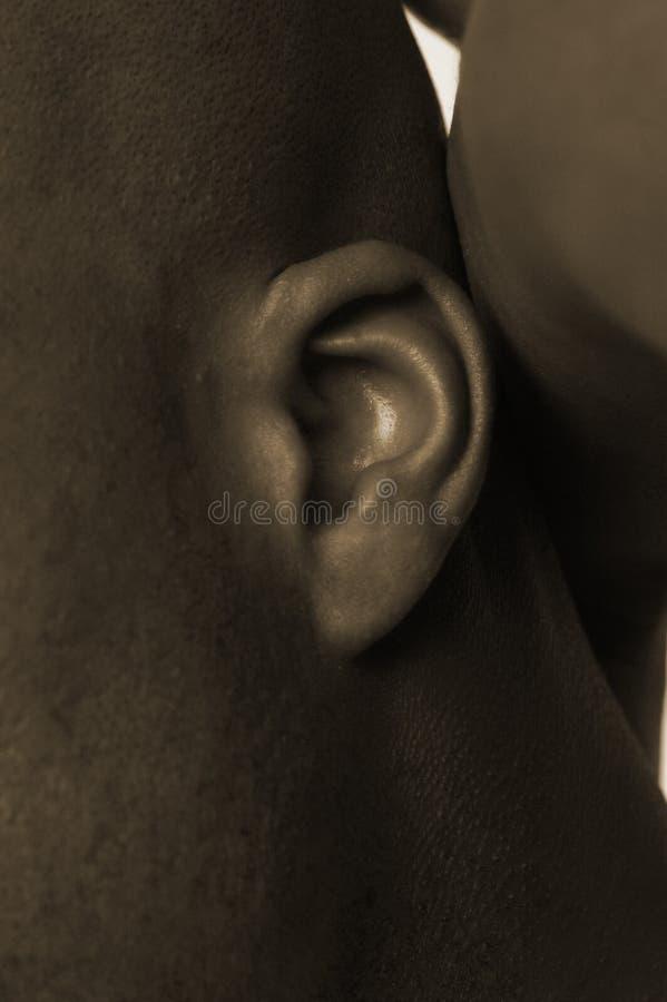 Ohr des schwarzen Mannes stockbild