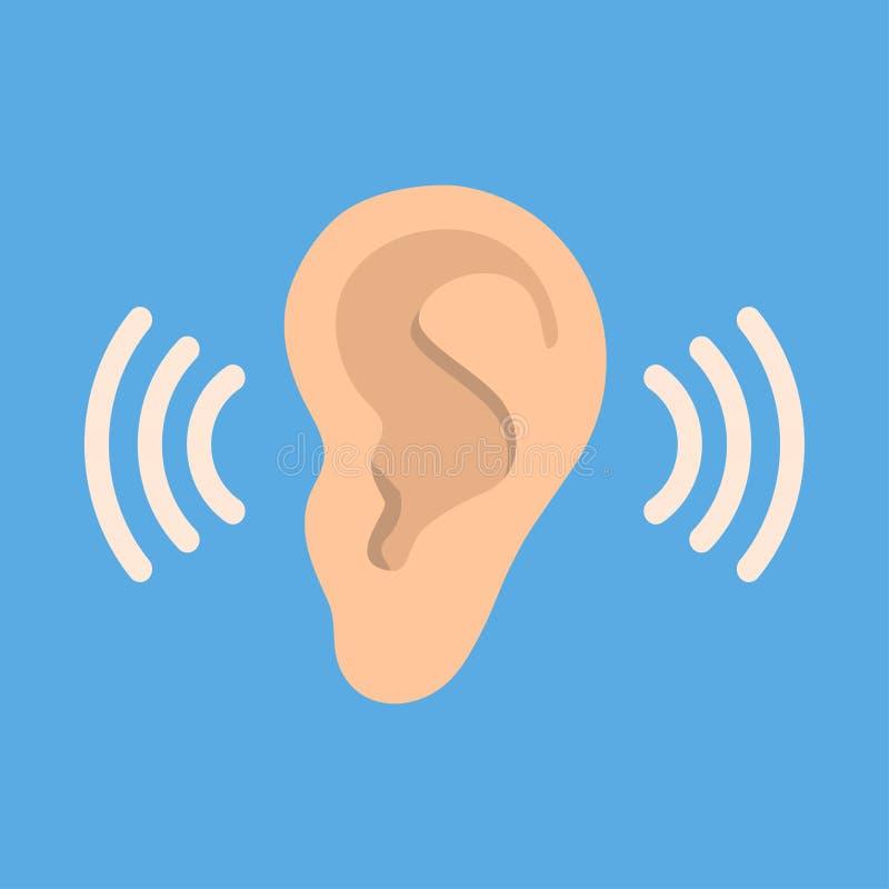 Ohr hören Vektorikone auf blauem Hintergrund Ohrvektorikone Hörende Vektorikone lizenzfreie abbildung