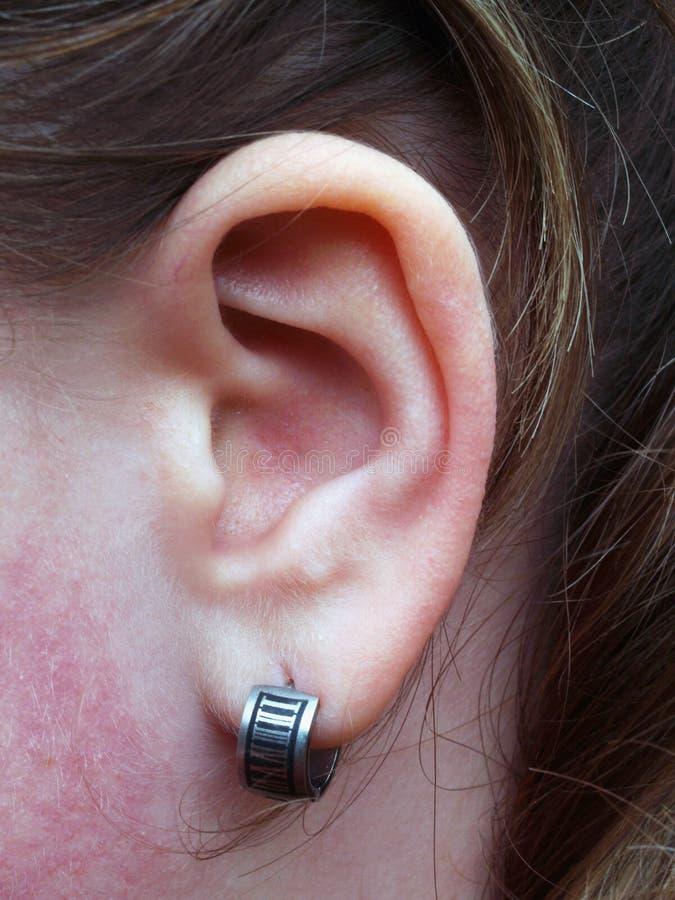 Ohr mit Ohrring stockbild