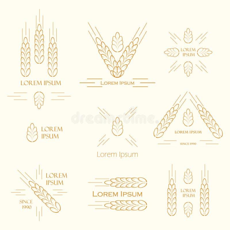 Ohren des Weizenlogos stock abbildung