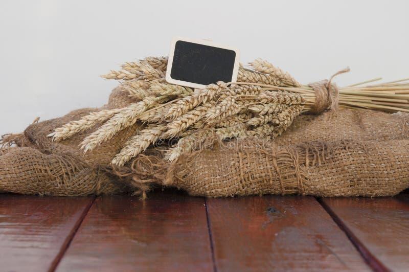 Ohren des Weizens und des Sacks Weizenkörner stockfotografie