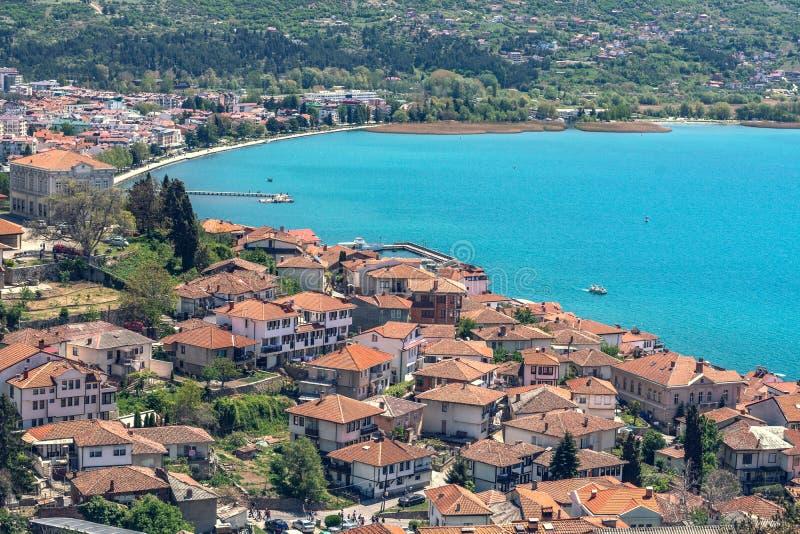Ohrid cityscapesikt från fästning royaltyfria bilder