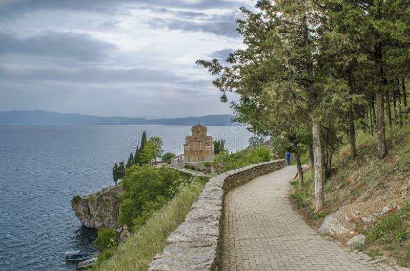 Ohrid jezioro, St John Macedonia, Kaneo kościół - fotografia stock