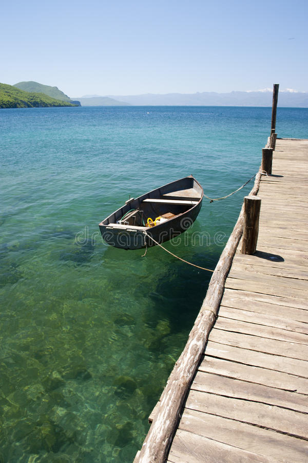 Ohrid lake. Boat at Museum of bones, Ohrid lake, Macedonia royalty free stock photos