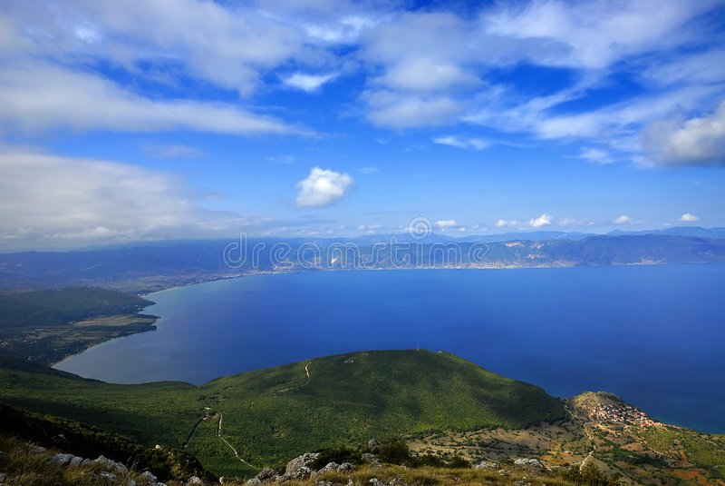 Ohrid lake. Panorama of the Ohrid lake from Macedonia stock photo