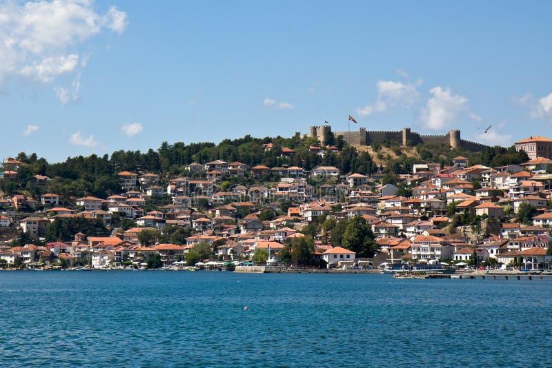 Ohrid Lake and City stock image