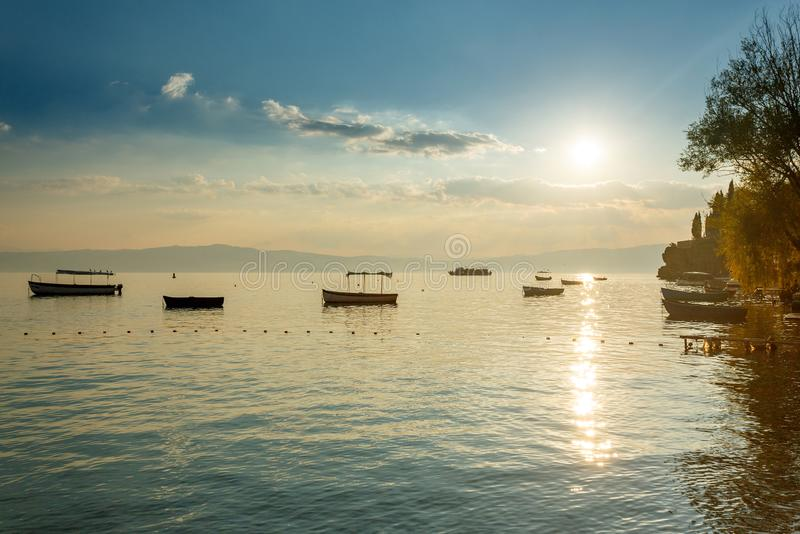 Ohrid lake, Macedonia. Ohrid lake landscape in Macedonia stock photo