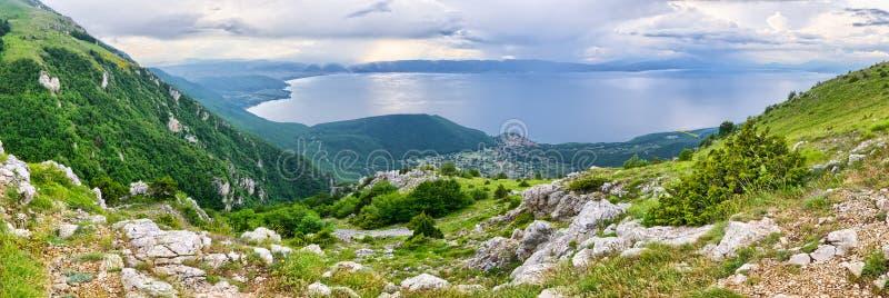 Ohrid lake, Macedonia. Beautiful Ohrid lake in the mountains, Macedonia stock images