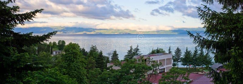 Ohrid lake, Macedonia. Beautiful Ohrid lake in the mountains, Macedonia royalty free stock photo