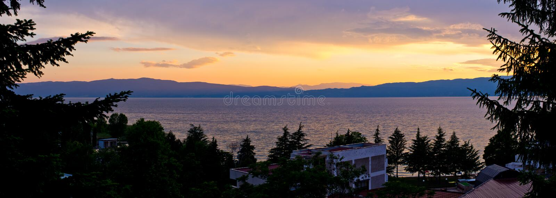 Ohrid lake, Macedonia. Beautiful Ohrid lake in the mountains, Macedonia stock photography