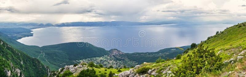 Ohrid lake, Macedonia. Beautiful Ohrid lake in the mountains, Macedonia stock photo