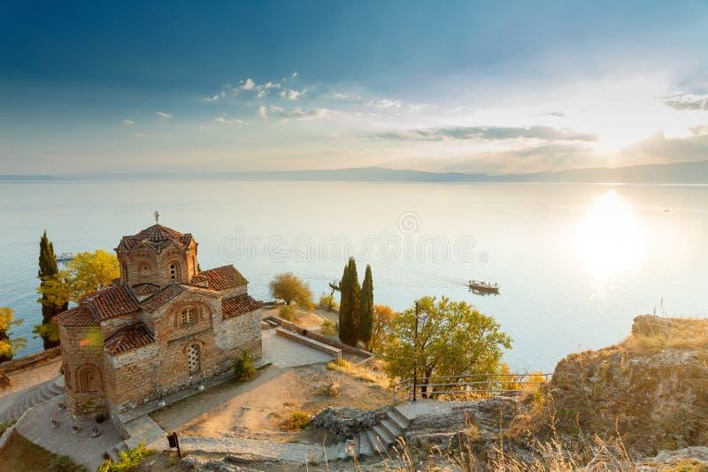 Ohrid lake, Macedonia. At sunset stock images