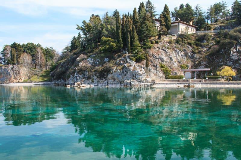 Ohrid lake, Macedonia. Ohrid lake, Tito's former residence stock photo