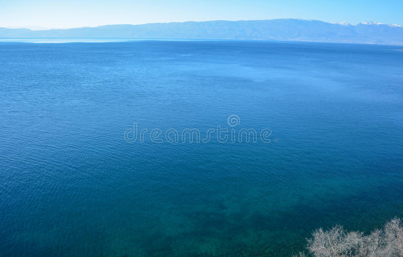 The Ohrid Lake. Is one of the oldest lakes on the European continent and the biggest on the Balkans royalty free stock photography
