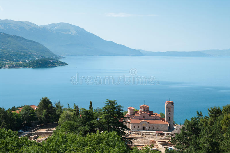 Ohrid Lake And St Kliment Church, Rep. Macedonia royalty free stock images