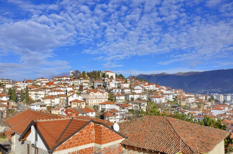 Ohrid, Macédoine - vieille ville - panorama image libre de droits