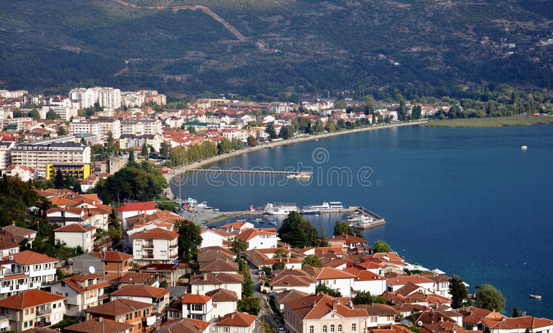 Ohrid Macedonia. Landscape of Lake Ohrid, Macedonia royalty free stock photo