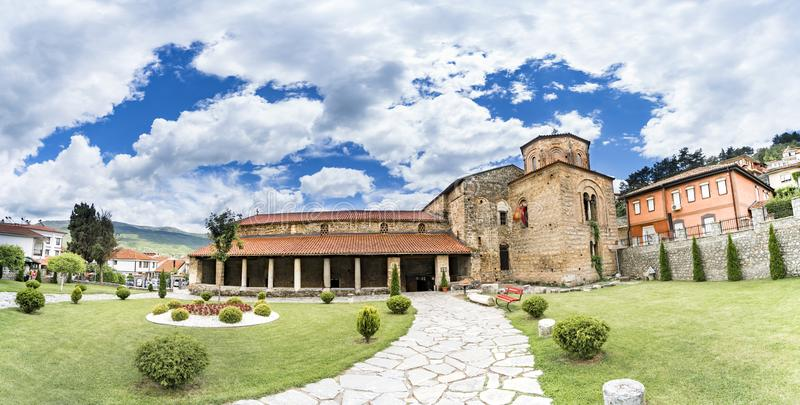 Ohrid, Macedonia, Panorama of Church Saint Sophia in Ohrid. The main part of the church was built in the 11th century, while external additions were built in stock image