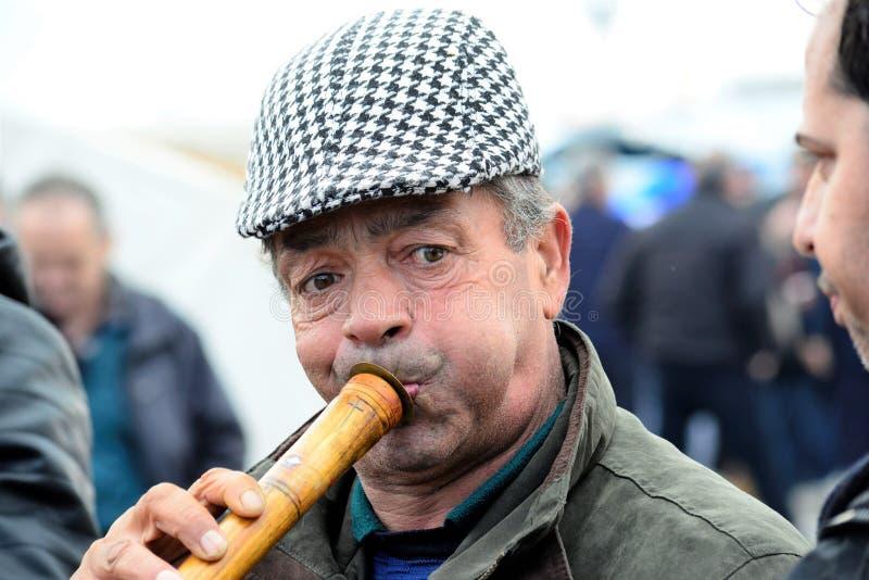 OHRID MACEDONIA, STYCZEŃ, - 19, 2019: Muzycy bawić się zurna instrument podczas świętowania objawienie pańskie dzień w Ohrid, Mac fotografia royalty free
