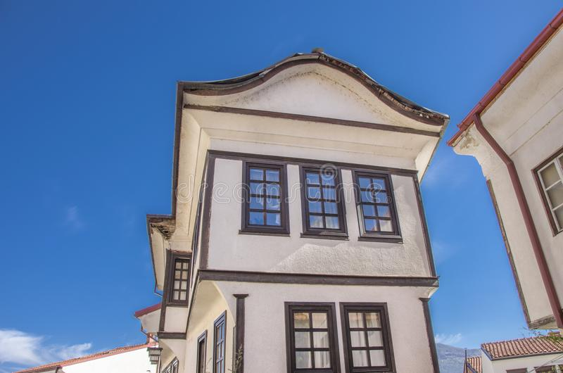 Ohrid, Macedonia -traditional architecture. In Ohrid old town - Varosh stock photo