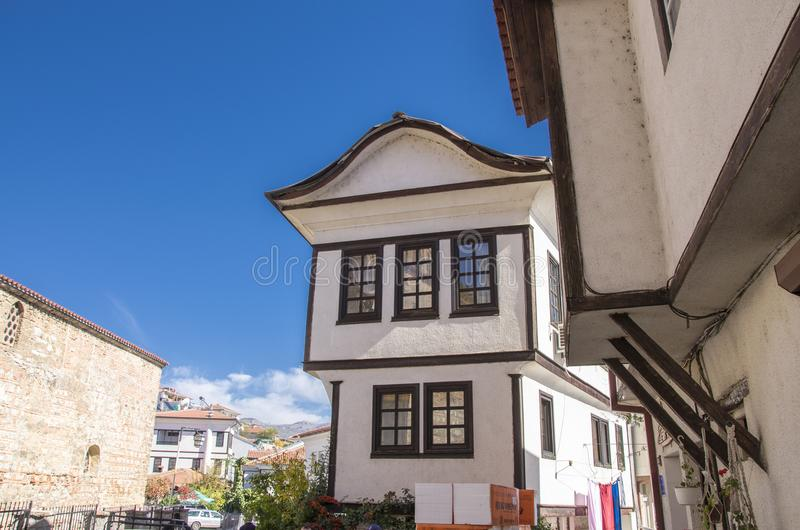 Ohrid, Macedonia - traditional architecture - Ohrid house. Ohrid, Macedonia -traditional architecture in Ohrid old town - Varosh stock photo