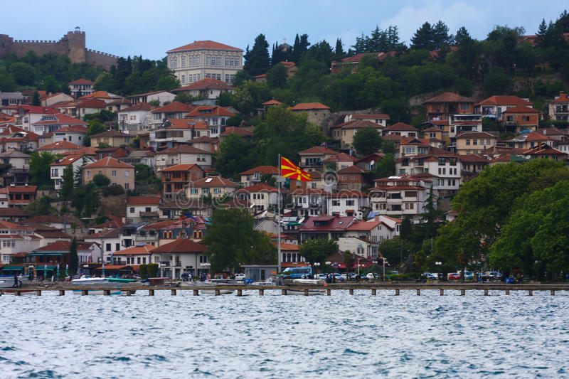 Ohrid Macedonia. View of the Ohrid old city and Ohrid lake the most important landmark in Macedonia stock photo